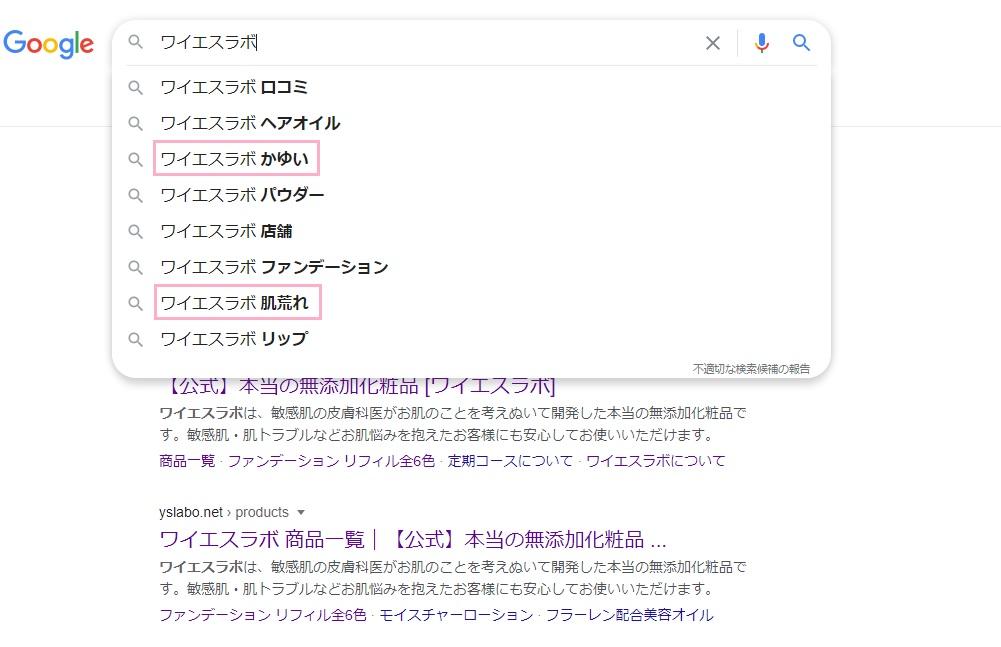 ワイエスラボのネット検索結果